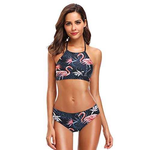 ZZKKO ZKKO Flamingo Palm Tree Bikini Badeanzug für Damen, mit hohem Hals, zweiteilig, Blau - blau - Small