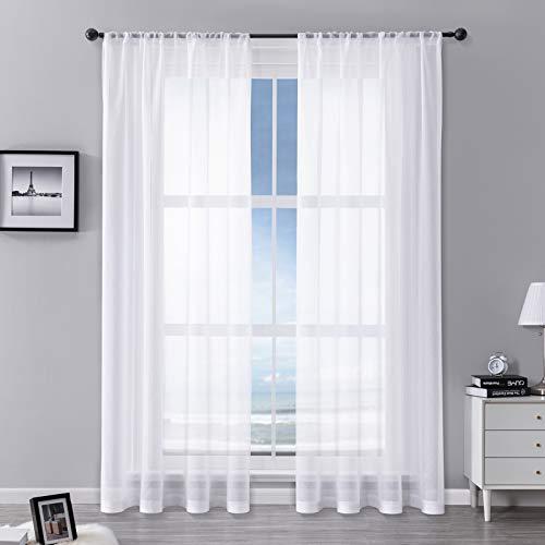 MRTREES Vorhänge Gardinen mit Store Vorhang Voile halbtransparent kurz in Leinenoptik Gardine Schals Weiß 225×140cm (H×B) für Wohnzimmer Schlafzimmer Kinderzimmer 2er Set