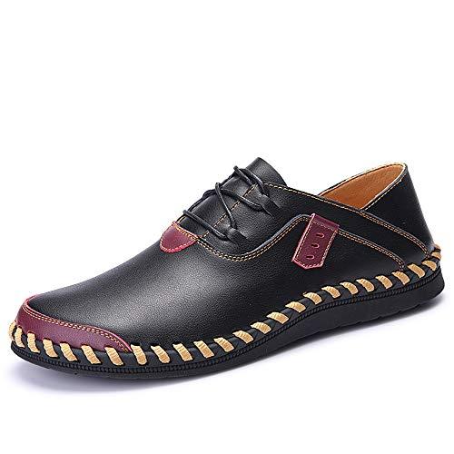 Casual Oxford para los hombres Masines de la moda Encaje Encaje un resbalón cómodo en Pisos Zapatos Stitch Cuero Cuero Superior Toe Redondo Resistente a la abrasión ( Color : Black , Size : 44 EU )