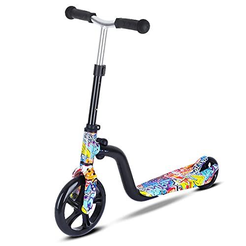 tquuquu Scooter para Niños, Scooter De Rueda Grande Scooter De Pedal Plegable Adecuado para Niños De 3 A 8 Años De Edad, Scooter De Peso Ligero Ajustable En Altura, Regalo