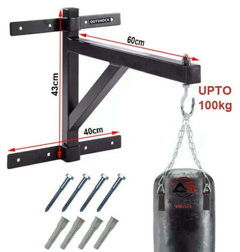 PUNCH BAG BRACKET by Athletics Gear |16-guage Heavy Duty with D-Shackle Swivel & Fixings (60cm Wall Bracket)