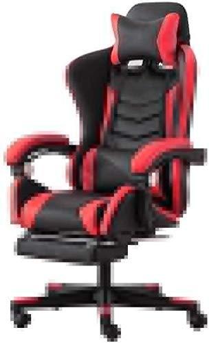WY Bseack Silla giratoria de carreras, Silla de oficina ajustable con respaldo alto para juegos, silla de oficina con reposapiés y soporte lumbar, multicolor opcional (color: rojo)