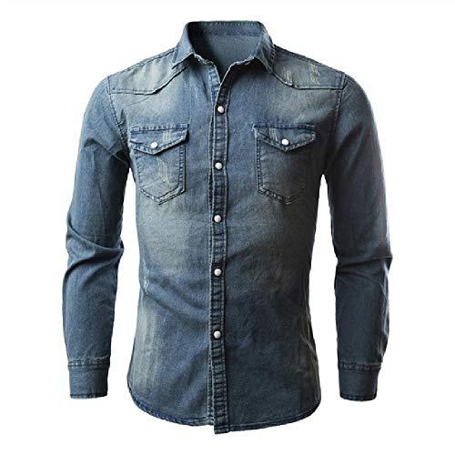 Jeanshemd Männer Baumwolle Jeans Shirt Schlank Langarm Cowboy ShirtWash Slim Tops Asiatische Größe