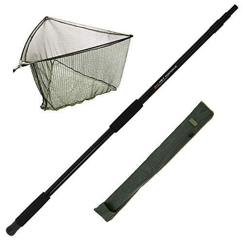 G8DS® Set 3m Tele-Kescherstange aus Fiberglas, Karpfen/Hecht Keschernetz inkl.hochwertige Aufbewahrungstasche für den Kescher, Karpfenangeln