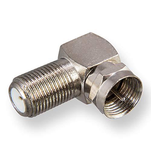 HB-DIGITAL Winkel-Adapter für SAT Anlagen F-Stecker (SAT, männlich) auf F-Buchse (SAT, weiblich) rechtwinklig Ecke Steckverbinder 90° Grad F-Winkeladapter