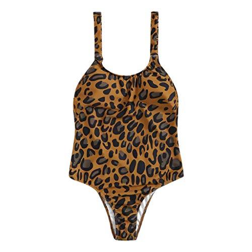 Costume Donna Intero Leopardato Push Up Costumi Interi Ragazza Mare Brasiliana Mini Bikini Modellante Fascia Imbottita Vita Alta Trikini Curvy Spiaggia Piscina