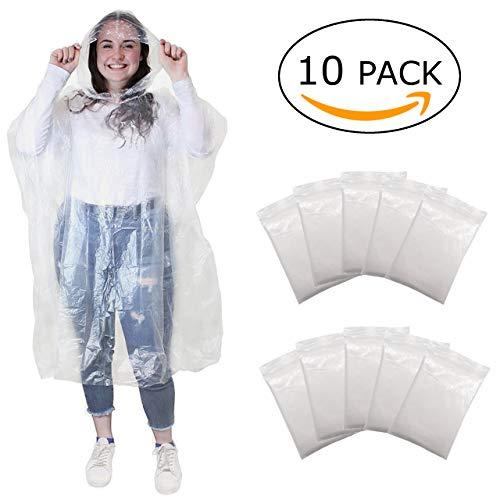Regenponcho - wegwerp poncho met capuchon- regen poncho voor dames, heren en kinderen - transparant, plastic en waterdicht voor festival, concert, camping, fiets, wandelen - 10 stuks