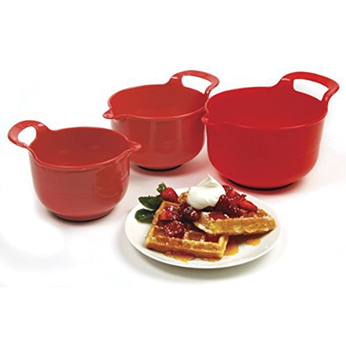 Norpro, Red, Mixing Bowls, Set of 3, 4.5' x 8.75' x 6.75' / 11.5cm x 22cm x 17cm