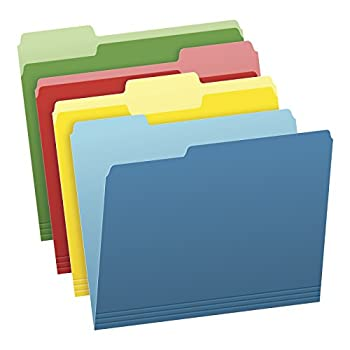 Pendaflex Two-Tone Color File Folders Letter Size Assorted Colors  Bright Green Yellow Red Blue  1/3-Cut Tabs Assorted 36 Pack  03086  4-Color