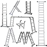 4.7m/16.5Ft Heavy Duty Multi-Purpose Extendable Ladder with Safety Locking Hinges Folding Combination Scaffold Ladder with 1 Safety Tool Tray Manufactured to EN131 Part 1 and 2 Specifications