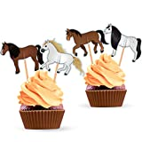 Horse Cupcake Cake Toppers - Horse Birthday Party Decorations Supplies Equestrian Themed- 24 PCS