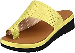 Women Wedge Sandals, Flip Flops Toe Ring Side Cutout, Orthopedic Premium Toe Corrector Bunion Comfy Foot Sandals Suitable for Everyday Wear
