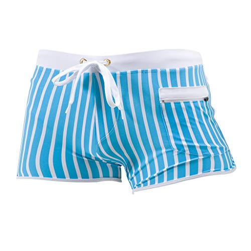 Yowablo Herren Badestring Herren Aquashorts Shorts Boxer Mode Bodybuild Gradient Trunks Strand Schwimmen (XL,2Blau)
