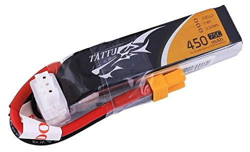 TATTU TA de 75C de 450–2S1P 450mAh 7.4V lipo Battery Pack