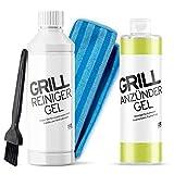 DILIXIN Grillreiniger Gel | löst hartnäckige Verkrustungen am Grillrost | hochkonzentriert | + Pinsel und Reinigungstuch | + Gratis Grillanzünder Gel | 500 ml