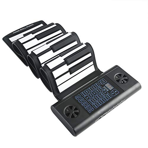 Lujex 61 Keys Double Speaker Roll Up Piano Upgraded Portable Rechargeable Electronic Hand Roll Piano with Environmental Silicone Piano Keyboard for Beginners (Dark Black)