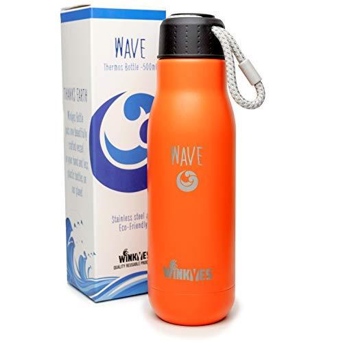 WINKYES® W·A·V·E 500 ml - Botella Agua Acero Inoxidable - UN ÁRBOL como Regalo - Frasco Aislamiento Térmico De Doble Pared - Agua, Café, Té Caliente 12h O Frío 24h (Mandarina)