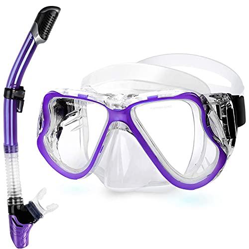 AWJ Juego de Snorkel, máscara de Snorkel, antifugas, antivaho, Equipo de Snorkel, Vidrio Templado, natación, Buceo, Gafas de Buceo, Vista panorámica de 180 Grados, Color Blanco