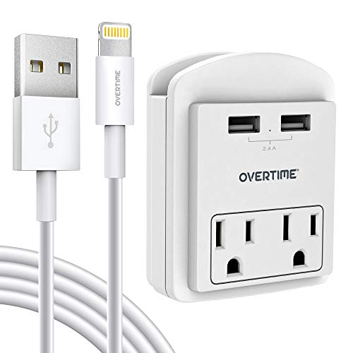 USB Wall Charger with Apple MFi Certified 4ft Lightning Cable, Surge Protector Socket Shelf 2 Outlet with 2 USB Ports Charging Station for iPhone, iPad, Home, School, Office, ETL Certified