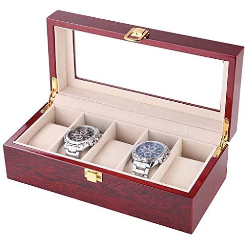 Hölzerne 5 Grids Watch Box Schmuck klare Vitrine Aufbewahrungsbox mit Glasdeckel und abnehmbare weiche Kissen gelbe Kissen für Männer Frauen Sammelboxen