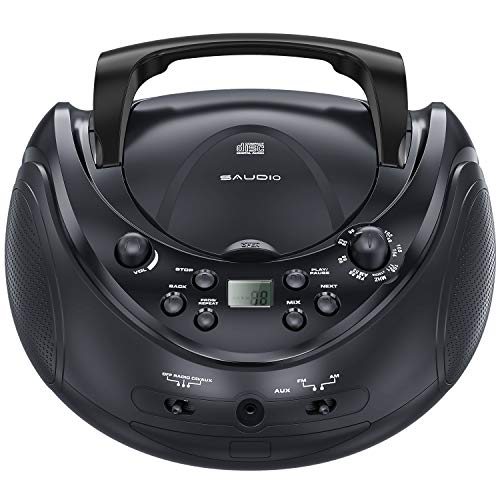 sAudio Stereo CD Boombox, Portable CD Player with AM/FM Radio and Audio Input Jack, Easy to Use