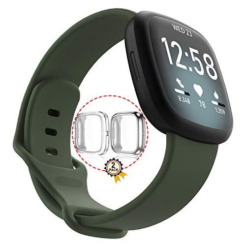 Qeei Pure Colour Sport Armband Kompatibel für Fitbit Versa 3/Sense,Olive,Mit 2 Pack Voll Abdeckung TPU Schutz (Silber + Transparent),Größe Groß