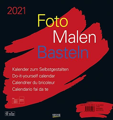 Foto-Malen-Basteln Bastelkalender schwarz groß 2021: Fotokalender zum Selbstgestalten. Do-it-yourself Kalender mit festem Fotokarton. Format: 45,5 x 48 cm
