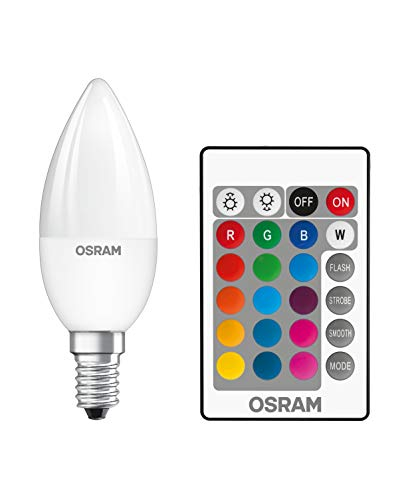 Osram LED Star+ Classic B RGBW Lampe, in Kerzenform mit E14 Sockel, dimmbarkeit und Farbsteuerung per Fernbedienung, Ersetzt 25 Watt, Warmweiß - 2700 Kelvin, 2er-Pack
