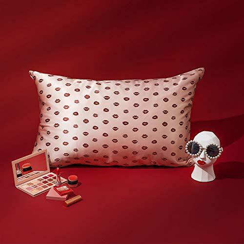 THXSILK - Funda de almohada de seda y Lyocell, seda de pared, 19 Momme y parte inferior de Lyocell, estampado fresa, 50 x 75 cm, color rosa – labio 50 x 75 cm