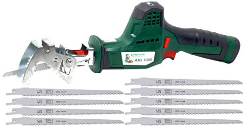 Accu takkenzaag AAS 1080 met 10,8 V 2,0 Ah accu, 2700 min, 80 mm zaaglengte, 20 mm cilinderlengte, snelspanhouder, incl. zaagbladen inkl. 10 Sägeblätter für Holz