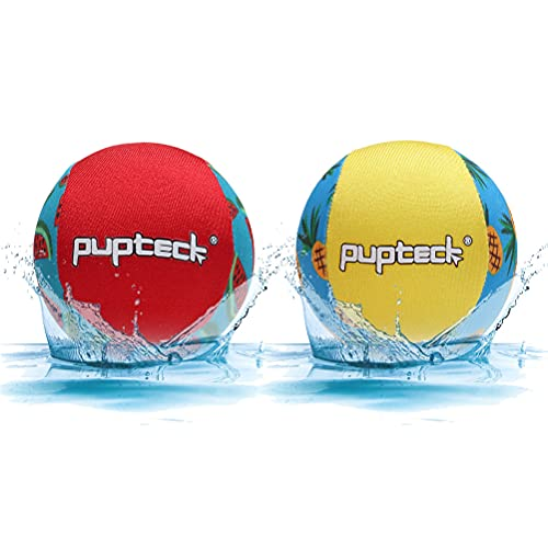 PUPTECK Floating Dog Pool Toys - 2 Pack Dog Water Bouncing Fetch Balls for Summer, Interactive Puppy Chew Toy