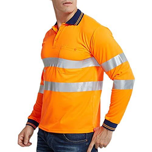 GOGO - Polo de manga larga de alta visibilidad para trabajo de seguridad
