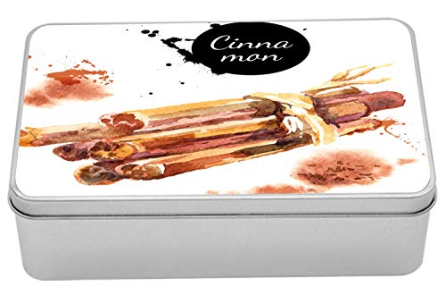 Lunarable Cinnamon Metal Box, Watercolor Painting Illustration of Kitchen Herb and Spices, Multi-Purpose Rectangular Tin Box Container with Lid, 7.2' X 4.7' X 2.2', Black Dark Peach