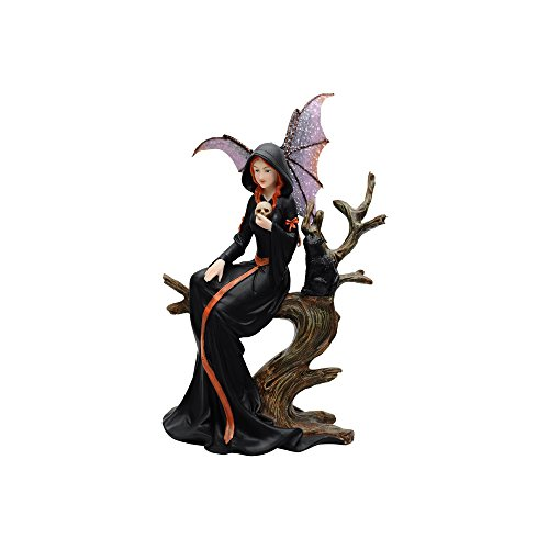 Comfy Hour Fairyland Collection Resin Fairy Witch with Skull and Black Cat Sitting On Withered Tree Crafted Figurine