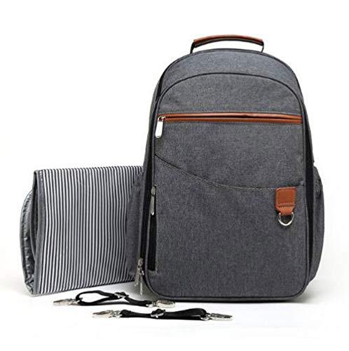 Etyybb mochila gris para pañales, bolso de maternidad impermeable multifunción con cambiador para mamá y papá, de gran capacidad