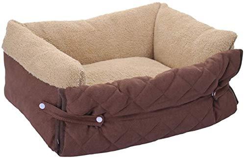 IUYJVR Cama para Mascotas Funda abatible Cama para Perros, Cojín para sofá para Mascotas en otoño e Invierno Calidez Desmontable y Lavable para Perros pequeños y medianos, Marrón, L (Color: Marrón,