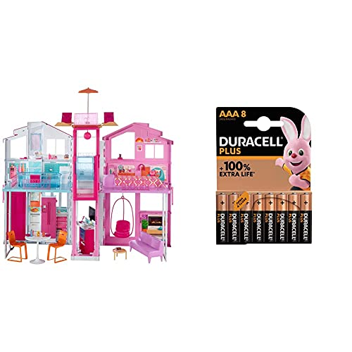 Barbie La Casa di Malibu per Bambole con Accessori e Colori Vivaci + Duracell LR03 MN2400 Plus AAA, Batterie Ministilo Alcaline,