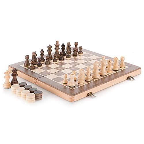 BIAOYU Juego de Ajedrez 2 en 1 Beech International Chess and Checkers Set Portble Folding Tablero de ajedrez Storage Decor Family Party Game Regalo Juego de Mesa (tamaño : 15'')