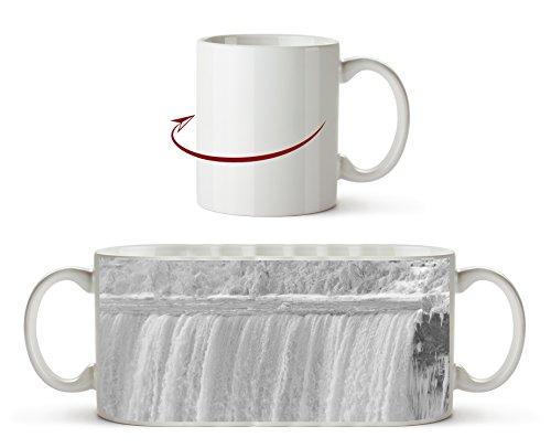 Niagarafälle im Winter Effekt: Schwarz/Weiß als Motivetasse 300ml, aus Keramik weiß, wunderbar als Geschenkidee oder ihre neue Lieblingstasse.