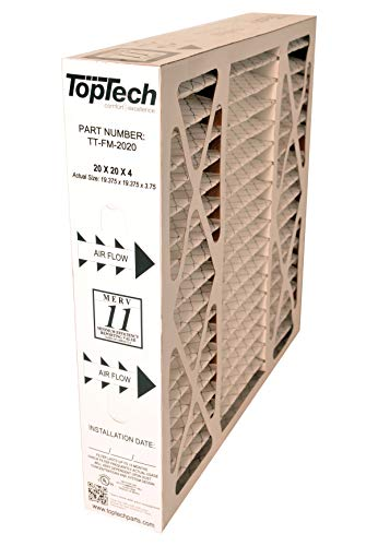 Dakota Supplies TopTech TT-FM-2020 Ready to Use TechPure TTFM2020 Air Filter 20x20x4 Top Tech OEM Cartridge 20 by 20 by 4 in Furnace MERV 11 Carrier TT-MAC-2122 TT-MAC-2020 with Installation Sticker