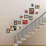 WECDS Pantalla de Fotos Colgante Marco de Fotos de Imagen de Pared 14 Juegos de Escalera Marco de Fotos de combinación de Madera Creativa Decoración de Pared de Gama Alta/A