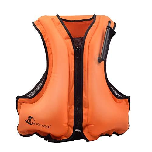 Sumeber Schwimmweste Unisex Schnorchelweste Bootfahren Flotation Angeln Treiben Skihilfe Rettungsjacke Wassersport für Erwachsene (Orange)