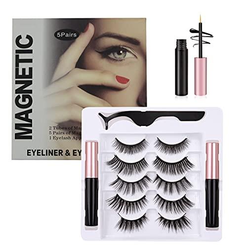 Ciglia Magnetiche con Eyeliner Magnetico Kit, 5 Paia Di Ciglia Finte Naturali E Di Morbide, Include 2 Bottiglie Eyeliner Magnetico Liquido Impermeabile e Pinzette, Lunga Durata, Riutilizzabili
