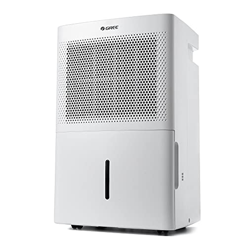 Gree Dehumidifier 50 Pint for up to 4500 Sq.ft, Energy Star Dehumidifier for Bathroom, Basement, Bedroom with Intelligent Humidity Control, LED Control panel, Quiet Design, Continuous Drainage