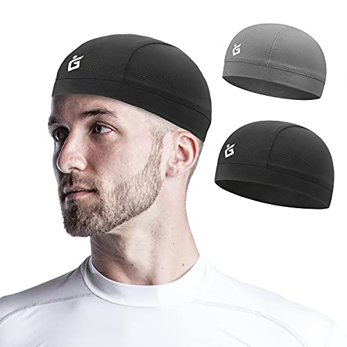 Seektop 2 Pack Cooling Skull Cap Helmet Liner for Men,Cycling Running Sweat Wicking Skullcap Beanie,Fits Under Helmets