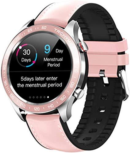 Hombres Negocios Reloj Inteligente Frecuencia Cardíaca Monitor de Presión Arterial Modo Multi-Sport Wateproof Smartwatch Mujeres Fitness Pulsera-Rosa