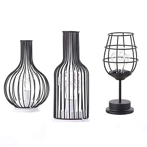 Combinación de luz nocturna - Lámpara de mesa de arte de hierro retro, lámpara de lectura, lámpara de la noche de la noche, iluminación de escritorio Decoración del hogar, Lámpara de estilo: vino tint