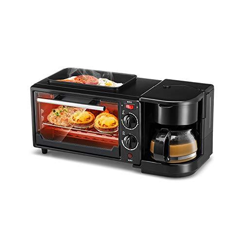 WLM Multifunktions-Haus Frühstück Maschine, regelmäßige Toaster Backofen, Spiegelei, Kaffee, Toast Drei in Einem,Schwarz,Einheitsgröße
