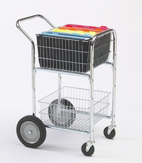 Charnstrom Compact Mail Cart with Bolt in Baskets and 10-Inch Rear Wheels (M240)