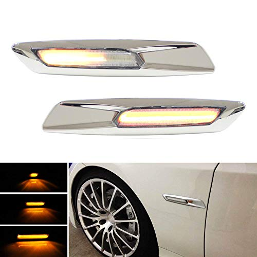 iJDMTOY F10 5-Series Style Chrome Trim Clear Lens Sequential Flash Full Amber LED Fender Side Marker Light Assembly Compatible With BMW 1 3 5 Series